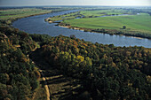 aerial photo of the river Elbe near Hitzacker, northern Germany, Lower Saxony