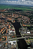 aerial photo of sea port Emden, harbour, North Sea, Lower Saxony, northern Germany
