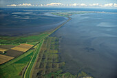 aerial photo of Hindenburgdamm causeway, rail, North Frisian island, Sylt, Schleswig Holstein, North Sea, Germany