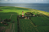 aerial photo of Pellworm lighthouse, North Frisian island, Wadden Sea, federal state of Schleswig Holstein, coast of northern Germany