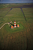 aerial photo lighthouse Westerhever, North Frisia, Wadden Sea, marshland, Schleswig-Holstein, North Sea, northern Germany