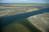 aerial photo, low tide, sandbank, mudflats, sandflat, Wadden Sea, North Sea, Lower Saxony, northern Germany