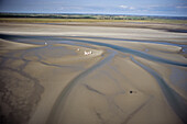 aerial photo, low tide, sand yachts, sandbank, mudflats, sandflat, Wadden Sea, North Sea, Schleswig Holstein, northern Germany
