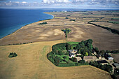 aerial photo, manor, stately home, Kiel Bay, agriculture, countryside, rural, field, Schleswig Holstein, northern Germany