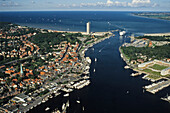 Ferry passing port entrance, Luebeck-Travemuende, Schleswig-Holstein, Germany