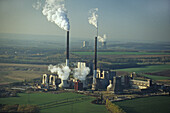 aerial photo of coal fired power plant and open mine at Offleben in Lower Saxony, northern Germany