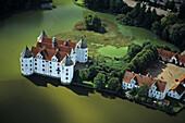 aerial photo of Schloss Glücksburg, renaissance, castle near Flensburg, the coast of Baltic Sea, Schleswig Holstein, northern Germany