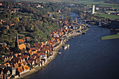 aerial photo of the river Elbe and Lauenburg in Schleswig-Holstein, northern Germany