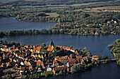 aerial photo of Mölln, Mölln Lake, Lauenburg nature reserve, Schleswig Holstein, northern Germany