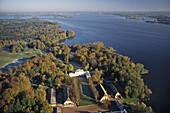 aerial photo of lakes, morning frost, Holstein Switzerland, Plöner lake, stately house, Schleswig Holstein, northern Germany