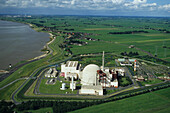 aerial photo nuclear power plant Brokdorf in the state of Schleswig-Holstein, Germany