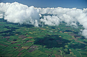 aerial photo of clouds above the northern German lowlands, Lower Saxony