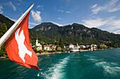 Paddle steamer leaving Vitznau at Lake Lucerne, Canton of Lucerne, Switzerland