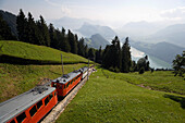 Pilatus Railway, the steepest cog railway in the world with panoramic view over Lake Lucerne, Pilatus (2132 m), Alpnachstad, Canton of Obwalden, Switzerland