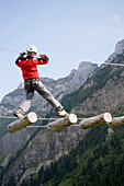 Boy in Central Switzerland's largest rope park, Frägmüntegg, Lucerne, Canton of Lucerne, Switzerland