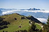 View from Rigi Kulm (1797 m) to Pilatus (2132 m), Rigi Kulm, Canton of Schwyz, Switzerland