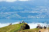 People on Rigi Kulm (1797 m) enjoying view over Lake Lucerne to Pilatus (2132 m), Rigi Kulm, Canton of Schwyz, Switzerland