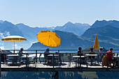 Terrace of Restaurant Hotel Rigi Kulm with mountain panorama in the background, Rigi Kulm (1797 m), Canton of Schwyz, Switzerland