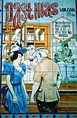 Spain, Cadiz, old fashion advertisment for drugstore, azulejos