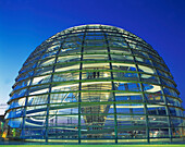 Berlin, Reichstag, roof terasse, dome by Norman Forster, dusk
