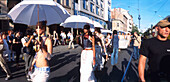 Berlin Oranienburger street fashion show molls with umbrellas