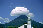 Church in front of active vulcano, Fortuna San Carlos, Costa Rica