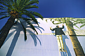 France, Nice, wall painting, palm tree