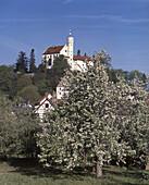 Franken, Goessweinstein, castle in spring