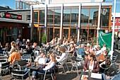Iceland, Reykjavik, Club and Cafe Vegamot, outdoor terasse in summer
