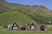 Iceland, Skogar, open air museum, little typical farmhouses