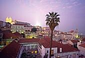 Lisboa, Lisbon, old city center, Alfama, dusk