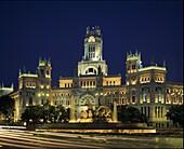 Plaza La Cibeles at night, Madrid, Spain