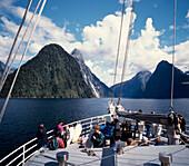 New Zealand Milford  Sounds , Mitre peak Fjord , toruist boat