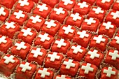 Switzerland, Zurich, redsweets with white swiss cross, 1, August