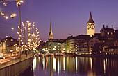 Switzerland, Zürich,  old town center, river Limmat
