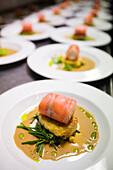 Salmon rolls on patato at the gourmet restaurant Gertrud Rask Spisehus, Nuuk, Greenland