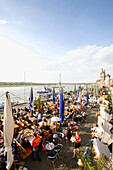 Riverside promenade and gastronomy along the Rhine, old part of town, Duesseldorf state capital of NRW, North-Rhine-Westphalia, Germany
