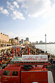 Riverside promenade and gastronomy along the Rhine with television tower in the background, old part of town, Düsseldorf, state capital of NRW, North-Rhine-Westphalia, Germany
