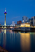 Modern architecture in the Media Harbour with television tower, Düsseldorf, state capital of NRW, North-Rhine-Westphalia, Germany