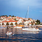 Promenade of Hvar, croatia, dalmatia, adriatic sea, coast, water, old houses, ancient, anchored ships, harbor, sightseeing, travel, vacation, holiday, trip, island, tourism, beautiful weather, sunshine, summer