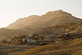 A mountain and village at sunset, Theben, Luxor, Egypt