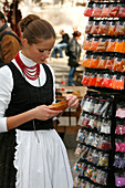 Traditionally dressed girl, Budapest, Hungary