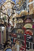 ornate handpainted fansin shop window, Valencia, Spain