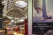 Mercado Central, central market, Valencia, Spain, poster advertising the America's Cup