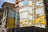 Graffiti on demolition block, house wall, old town Valencia, Spain