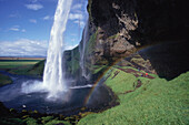 Rainbow and waterfall, Seljalandsfoss, Seljaland, Iceland