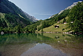 Mountain lake and mountains, Alps, Valais, Switzerland