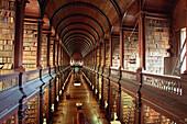 Rows of books inside Trinity College, Long Hall Library, Dublin, Ireland