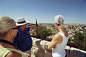 Three people, tourists admiring the view, viewpoint, Jerusalem, Israel