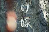 Japanese characters, lettering in a temple, Japan